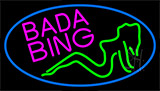 Bada Bing Girl With Blue Border LED Neon Flex Sign