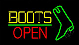 Yellow Boots Open With Logo LED Neon Flex Sign