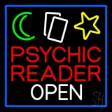 Psychic Reader Open Block Blue Border LED Neon Flex Sign