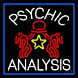 White Psychic Analysis With Logo And Blue Border LED Neon Flex Sign