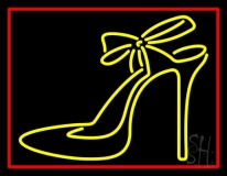 Yellow High Heels With Ribbon LED Neon Flex Sign