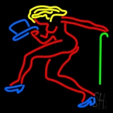 Strip Girl With Hat And Stick LED Neon Flex Sign