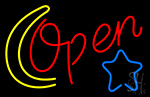 Open With Moon And Star LED Neon Flex Sign