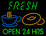 Green Fresh Open 24 Hrs Cups And Donuts LED Neon Flex Sign