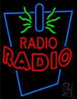 Radio With Double Stroke Red LED Neon Flex Sign
