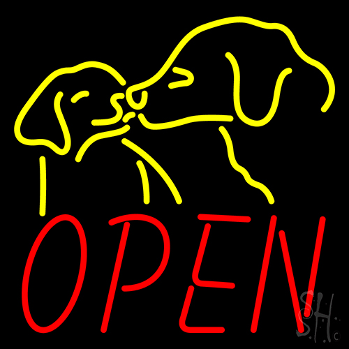 Open With Dogs LED Neon Sign