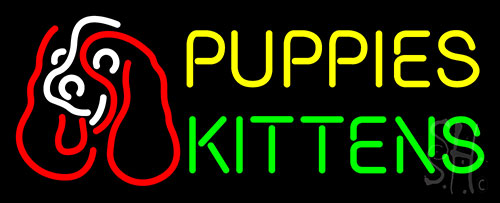 Puppies Kittens With Logo LED Neon Sign