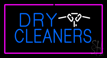 Dry Cleaners Logo Rectangle Pink Neon Flex Sign