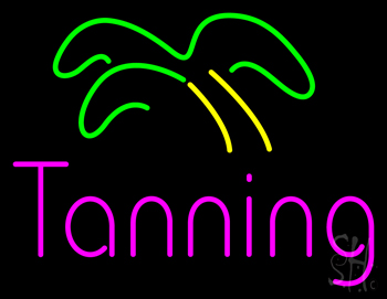 Pink Tanning Palm Tree Neon Flex Sign