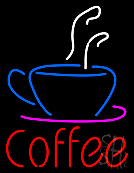 Red Coffee With Coffee Cup Neon Flex Sign