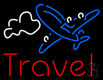 Red Travel Blue Aeroplane Neon Flex Sign