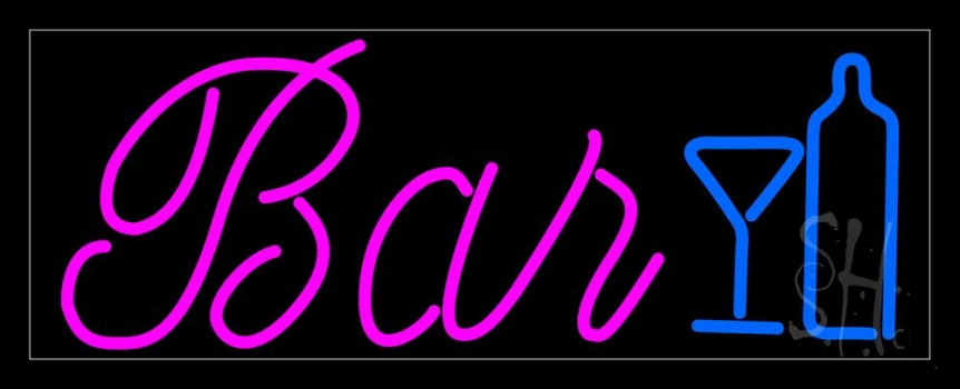 Cursive Bar With Wine Bottle And Glass Neon Flex Sign