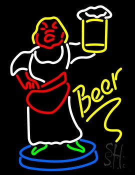 Lady With Beer Mug Neon Flex Sign