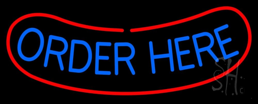 White Order Here With Red Border Bar Neon Flex Sign