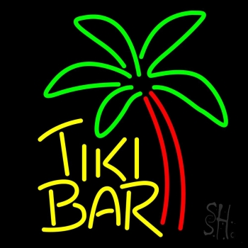 Yellow Tiki Bar With Palm Tree Neon Flex Sign