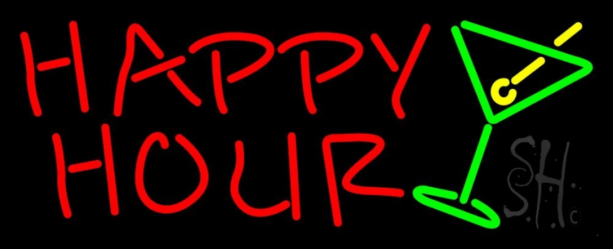 Happy Hour With Martini Glass Neon Flex Sign
