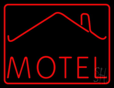 Red Motel With Symbol Neon Flex Sign