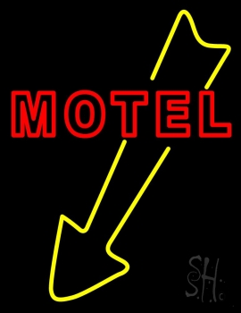 Motel With Down Arrow Neon Flex Sign