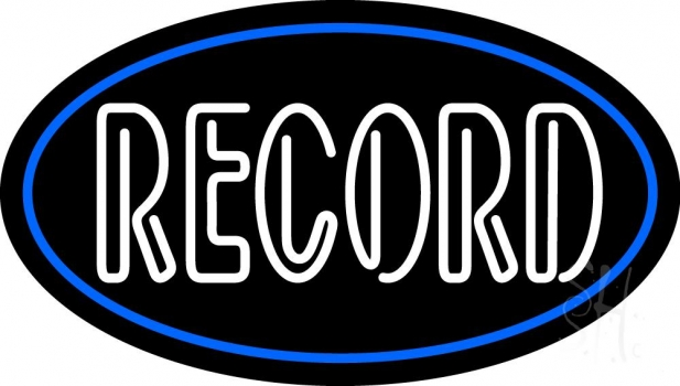 White Colored Records 1 Neon Flex Sign