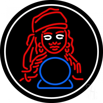 Blue Fortune Teller With Logo Neon Flex Sign