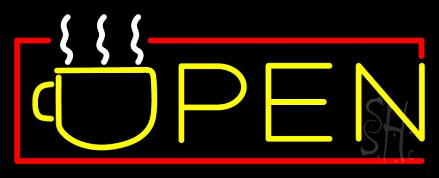 Yellow Tea Open With Red Border Neon Flex Sign