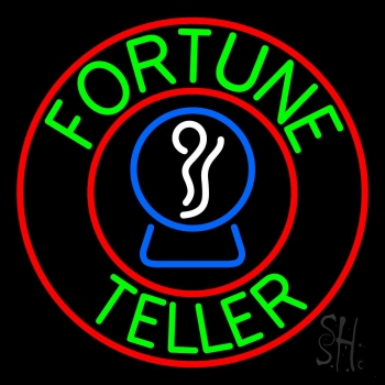 Green Fortune Teller With Logo Neon Flex Sign