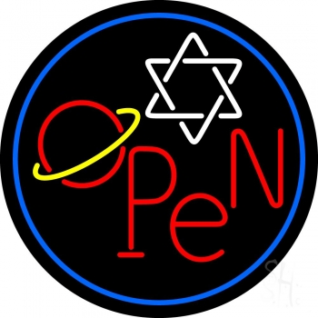 Open Psychic Blue Border Neon Flex Sign