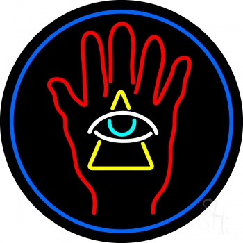 Palm With Eye Pyramid Neon Flex Sign