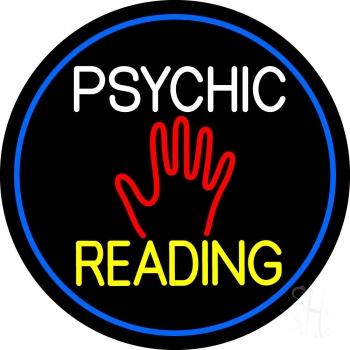 Psychic Reading Block Palm Blue Border Neon Flex Sign