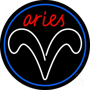 Red Aries White Aries Logo With Blue Circle Neon Flex Sign