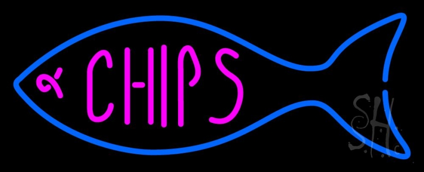 Fish Logo Chips Neon Flex Sign