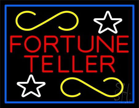 Red Fortune Teller With Blue Border Neon Flex Sign