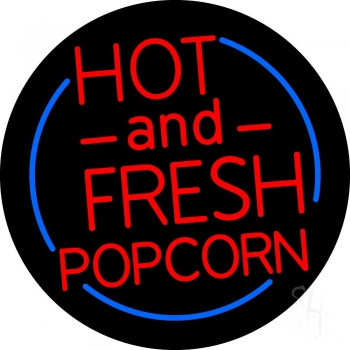 Red Hot And Fresh Popcorn With Border Neon Flex Sign