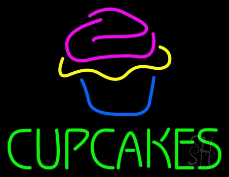 Green Cupcakes With Cupcake Neon Flex Sign