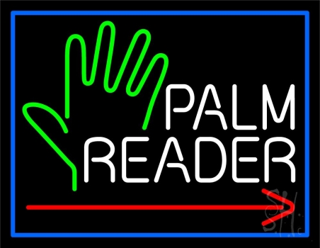Red Palm Reader Arrow White Border Neon Flex Sign