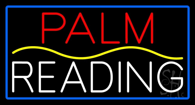 Red Palm Yellow Line White Reading Blue Border Neon Flex Sign