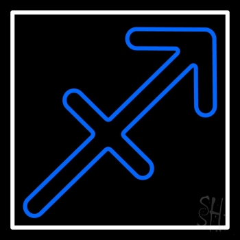 Sagittarius Zodiac Blue Border White Neon Flex Sign