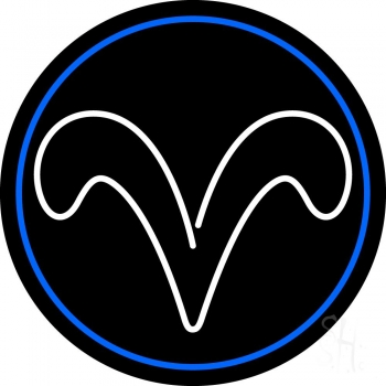 White Aries With Blue Circle Neon Flex Sign