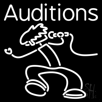 White Auditions With Logo Neon Flex Sign
