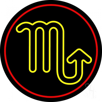 Yellow Scorpio Red Border Neon Flex Sign