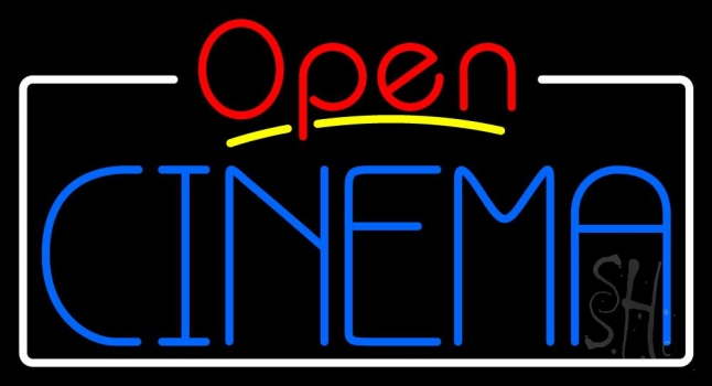Blue Cinema Open With Border Neon Flex Sign
