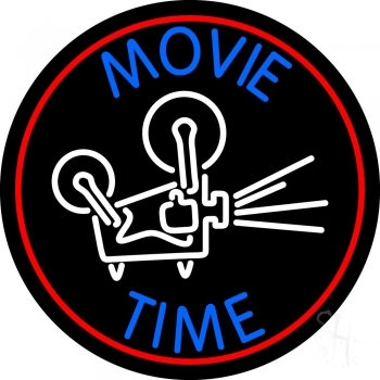 Movie Time With Border Neon Flex Sign