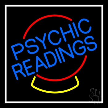 Psychic Readings Crystal White Border Neon Flex Sign