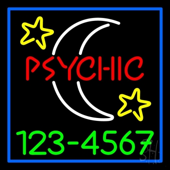 Red Psychic White Logo Green Phone Number Neon Flex Sign