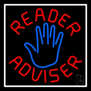Red Reader Advisor White Border Neon Flex Sign