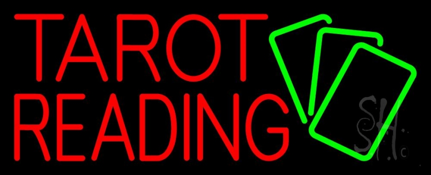 Red Tarot Reading Green Cards Neon Flex Sign