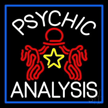 White Psychic Analysis With Logo And Blue Border Neon Flex Sign