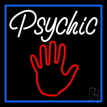 White Psychic With Blue Border Neon Flex Sign