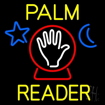 Yellow Palm Reader With Crystal Neon Flex Sign