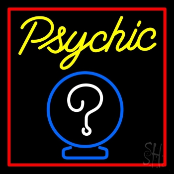 Yellow Psychic With Red Border Neon Flex Sign
